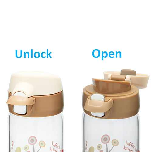 One Touch Open Glass Water Bottle