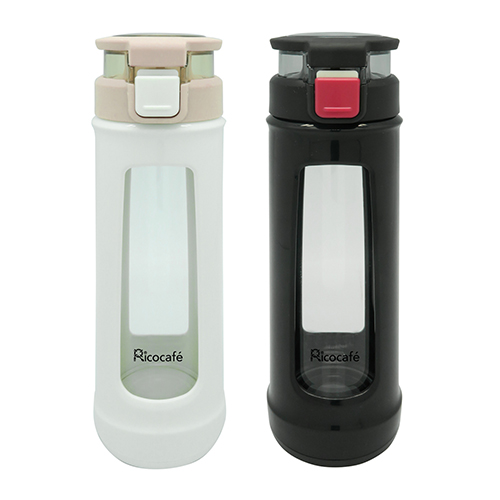Single Wall Glass Water Bottle with Loop 410ml