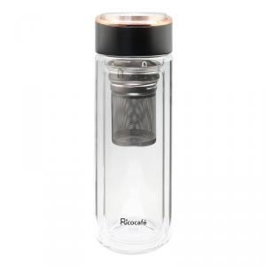 Glass Double Wall Bottle With Stainless Steel Stainer260Ml