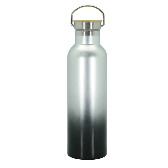 Stainless Steel Vacuum Sports Bottle With S/S Wood Cap