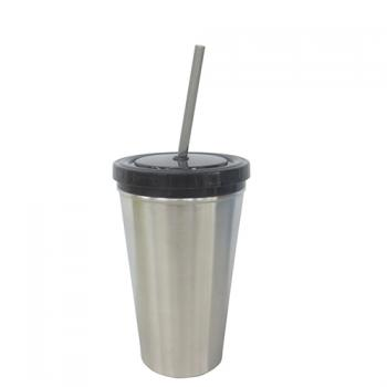 Stainless Steel or Plastic Mug with Straw