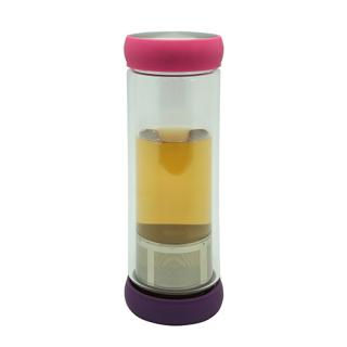 Double Wall Glass Tea Bottle 400Ml With Strainer